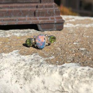 Opal Fire Green Quartz Sterling Silver Ring Sz 6.5